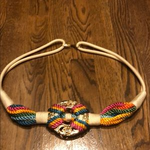 Accessories - Gold medallion belt with multi colored rope